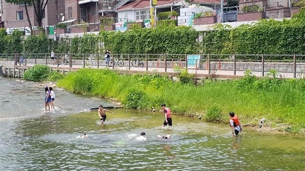 2020년 여름, 우이천  많은 개발이 이뤄진 수유리지만 우이천과 북한산 모습은 그대로였다. 앞으로도 그럴지는...