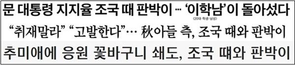 추미애 장관 아들 휴가 특혜 의혹이 '조국 때와 판박이'라고 보도한 중앙일보(9/11), 조선일보(9/12), 조선일보 온라인(9/14) 기사 제목