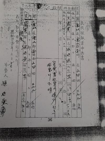 1960년 6월 국회 양민특위에 제출된 손계홍의 아버지 손세종 신고서