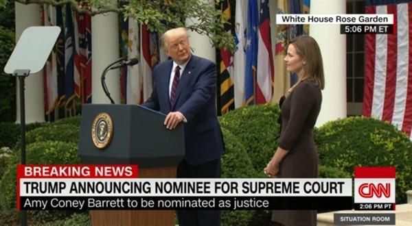 도널드 트럼프 미국 대통령의 에이미 코니 배럿 대법관 후보자 지명을 보도하는 CNN 뉴스 갈무리.