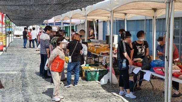 27일 주말 방문한 행사 현장은 드라이브스루 농산물 판매라는 말이 무색할 정도로 부실했다. 특히, 이곳을 찾은 대다수 군민들은 주차장에 차량을 주차한 후, 실외에 마련된 농산물을 구매하고 있었다.