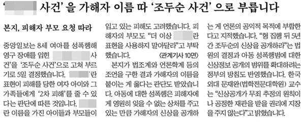 △ 피해자 이름이 아닌 가해자 이름으로 사건명을 부르겠다고 발표한 중앙일보(2009/10/06)