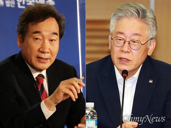 이낙연 더불어민주당 대표(사진 왼쪽)과 이재명 경기도지사(오른쪽).