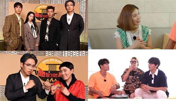 SBS가 마련한 '라면 당기는 시간'(왼쪽), MBC '볼빨간 라면연구소'