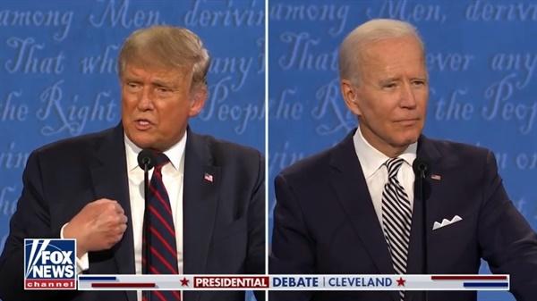 도널드 트럼프 대통령과 조 바이든의 대선 후보 TV토론을 중계하는 <폭스뉴스> 갈무리.