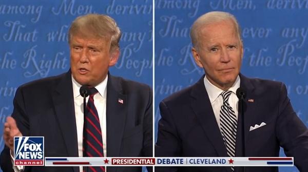 도널드 트럼프 대통령과 민주당 조 바이든의 미국 대선후보 1차 TV토론을 방송하는 <폭스뉴스> 갈무리.