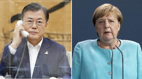 문 대통령, 독일 총리와 통화 문재인 대통령이 1일 청와대에서 앙겔라 메르켈 독일 총리와 전화 통화하고 있다. 2020.10.1