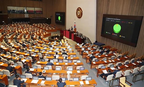 지난 5월 20일 오후 국회 본회의에서 진실·화해를 위한 과거사정리 기본법 일부개정법률안(대안)이 통과되고 있다.
