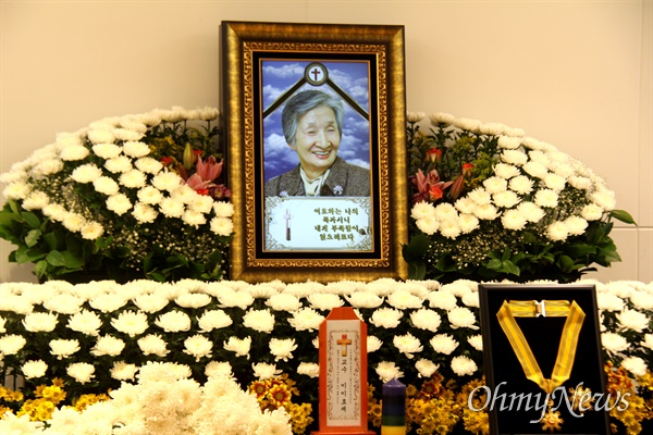 창원경상대병원 장례식장에 마련된 고 이효재 선생 빈소.