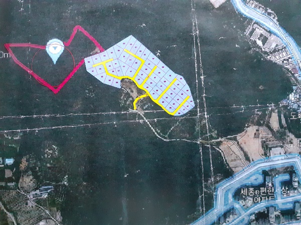 2016년 6월에 시도된 난개발 기본계획 도면(청주 서문동 중부측량설계).