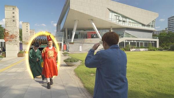 세종대왕님이 한글박물관에? 세종대왕님이 시간여행으로 한글박물관에 도착하였다.