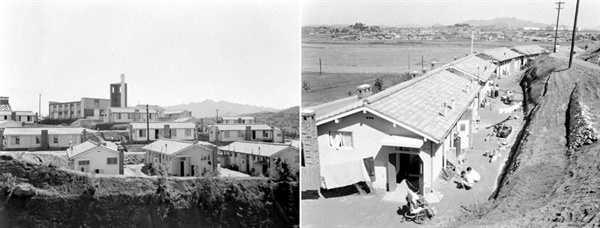 상이용사촌(1961) 6.25 전쟁 후 전국 곳곳에 부상 제대 군인들을 위한 집단 거주촌이 세워졌다. 사진은 1961년에 촬영한 서울 영등포구 신길동의 상이용사촌이다.