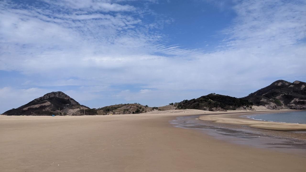 목기미해변 동섬의 덕물산과  연평산의 줄기는 아래로 내려와 외줄기 목기미해변으로 변한다. 왼쪽 봉우리가 연평산이고 오른쪽 보우리사 덕물산이다.