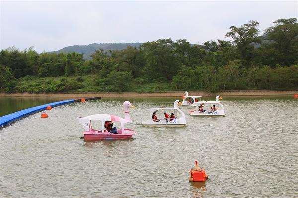 경주 보문관광단지 보문호 오리 페달 보트 모습