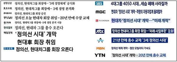 △ 정의선 회장 취임 소식을 다룬 언론사별 기사제목 모음(10/14)
