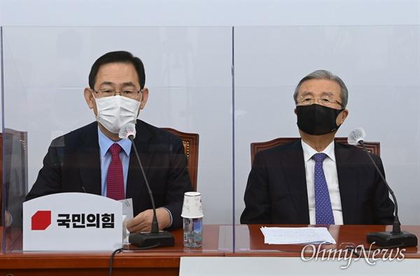 국민의힘 주호영 원내대표가 19일 오전 서울 여의도 국회에서 열린 비상대책위원회의에서 발언하고 있다.