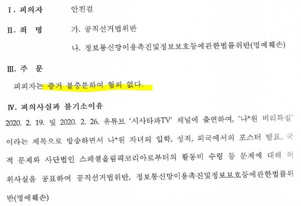 서울 중앙지검이 작성한 안진걸 사건에 대한 '불기소결정서'.