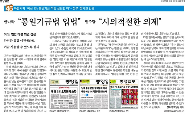 '중앙일보'는 2010년 9월 11일 지면을 통해 창간 45주년 기획 ' 예산 1% 통일기금 적립'을 소개했다. '중앙일보'는 2002년 신년기획 '업그레이드 코리아'부터 '예산 1% 통일기금 적립' 의제를 꾸준히 제기해왔다.