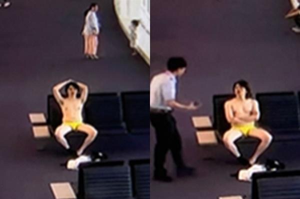 2019년 9월 28일 오후 4시 40분께 인천공항 제2터미널 3층 246번 탑승구 인근에서 하의 속옷만 입은 채 앉아 있는 30대 외국인 남성 A씨가 발견됐다.