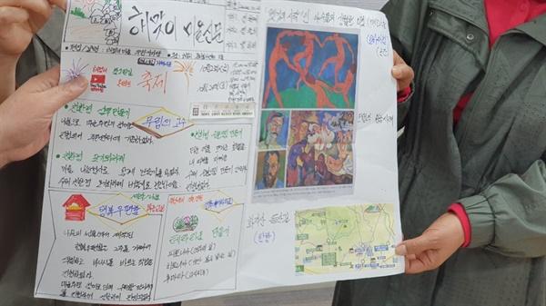 21일 즉석에서 만든 마을신문 중 가장 칭찬을 많이 받은 조의 마을신문이다. 다가오는 마을축제소식과 급하게 지면을 채워기 위해 문화란에 유명화가의 그림을 실었다.