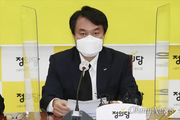 김종철 정의당 대표가 22일 오전 서울 여의도 국회에서 열린 정의당 대표단회의에서 모두발언을 하고 있다.