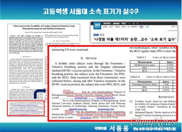 22일 오전 서울대 국감에서 서동용 의원이 활용한 프리젠테이션 자료.