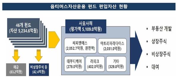 지난 7월23일 금융감독원이 발표한 옵티머스자산운용 펀드 관련 자료.