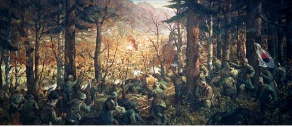 무장 독립운동 역사상 최대의 승리, 청산리대첩을 표현한 '청산리전투도'