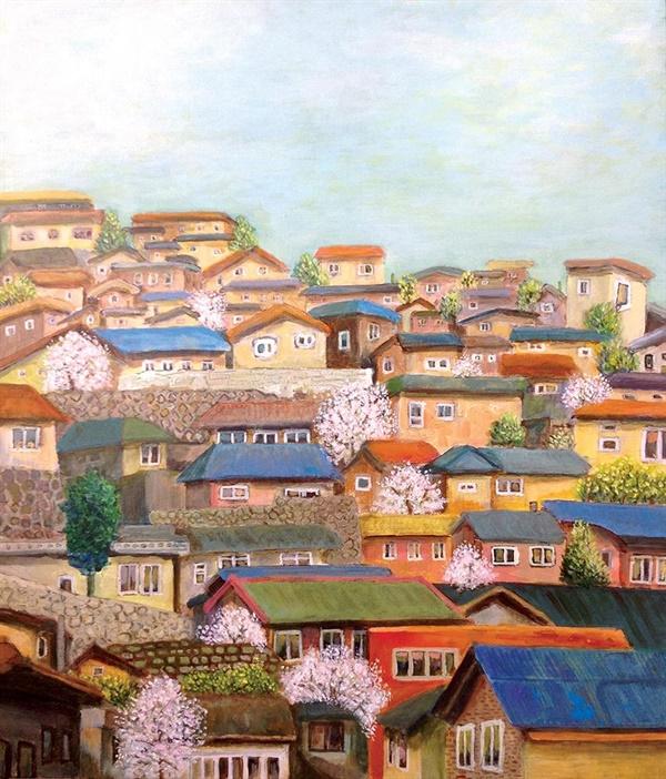<바다가 보인다, 목포 다순구미 마을> 캔버스에 아크릴, 38×45, 2016