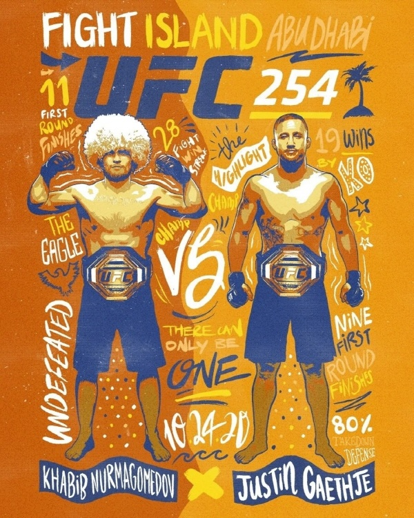 하빕(왼쪽)과 개이치의 라이트급 통합 타이틀전은 UFC에서도 올해 최고의 흥행 매치로 홍보하고 있다.