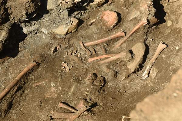 대전 골령골 제1집단희생지에서 발굴된 희생자 유해. 8.6㎡ 좁은 면적에 30여 구가 뒤엉켜 있다.
