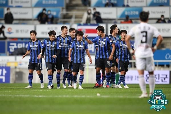 24일 인천축구전용경기장에서 열린 인천유나이티드와 부산아이파크의 경기 모습