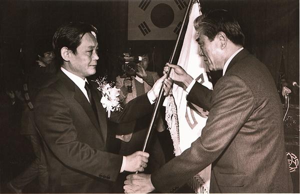 1987년 삼성그룹 회장 취임 당시 이건희 회장의 모습.