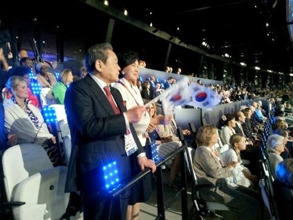 2012년 7월 27일, 이건희 회장이 런던올림픽 개막식에 참석한 모습.