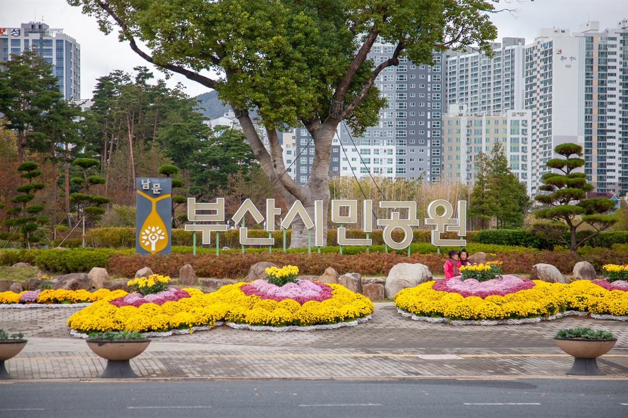 부산시민공원 남측 출입구 전경.