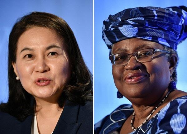 세계무역기구(WTO) 차기 사무총장 선거 최종 라운드에 진출한 한국의 유명희 후보와 나이지리아의 응고지 오콘조-이웨알라 후보.