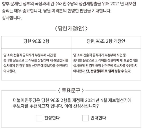 더불어민주당이 29일 게시한 전당원 투표 공지.
