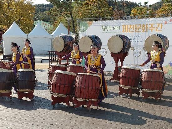 제천전통예술단의 대북 공연 모습. ⓒ 임지윤