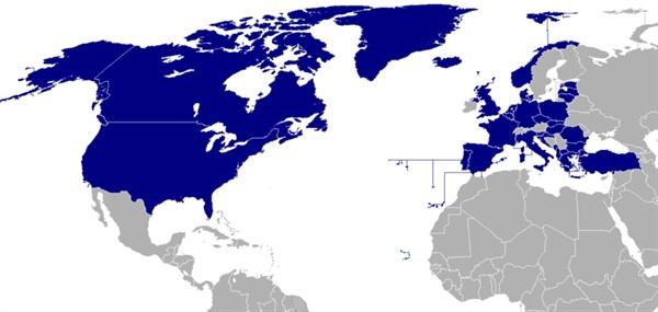 나토 회원국이 표시된 지도.