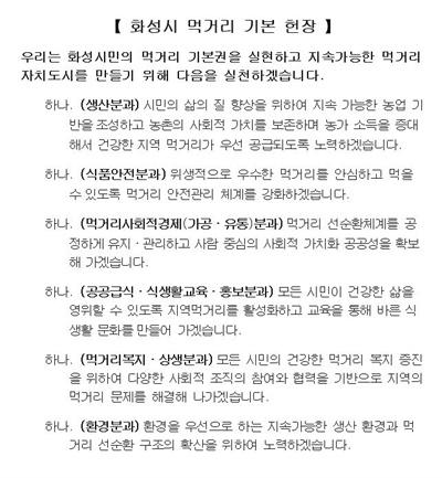 경기 화성시 먹거리 기본헌장