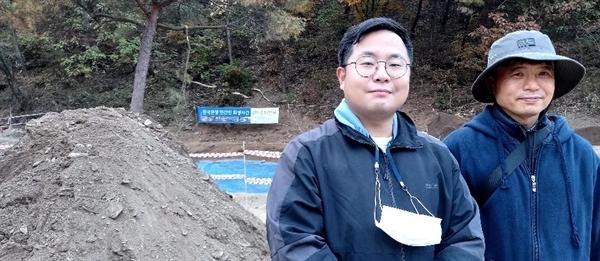 6일 양성주 제주4.3기념사업회 조직위원장과 신동원 제주다크투어 시민참여팀장이 3일 간 일정으로 유해발굴 봉사활동에 참여했다.