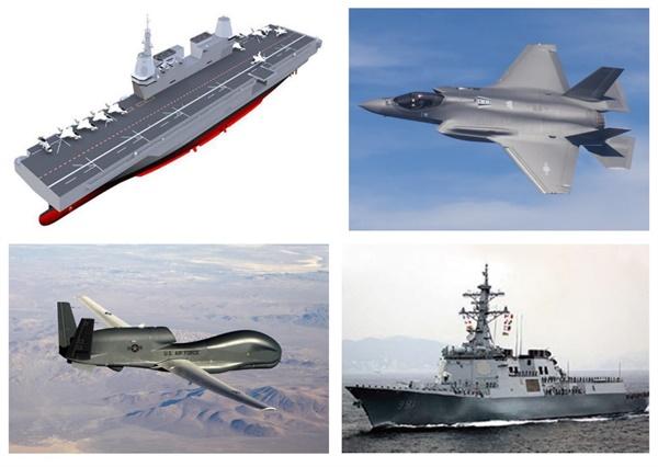 무기도입 맨위부터 시계방향으로 경항공모함(해군),  F-35A(공군), 이지스구축함(해군),  글로벌호크(미해군)