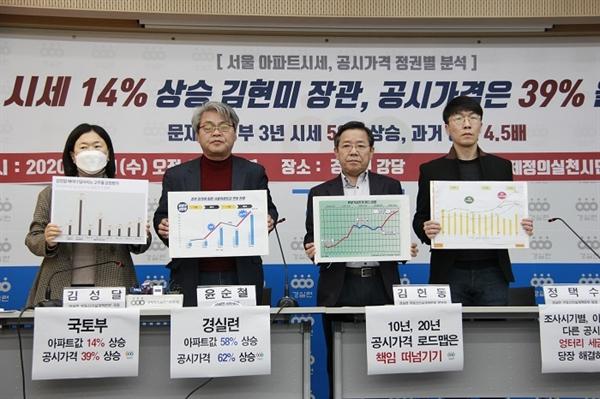 경실련은 11일 기자회견을 열고, 문재인 정부 3년간 공시가격 상승폭이 과거 정부보다 11배나 높았다고 밝혔다.