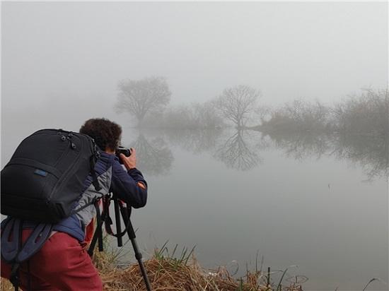 윤희철(62) 한국사진작가협회 제천지부 간사가 용담호 저편에 보이는 메타세쿼이아 나무를 촬영하고 있다.
