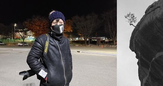 """김상덕(43) 사진작가는 """"자연을 훼손하지 않으며 일상을 관찰하는 자세""""가 필요하다고 했다. 그는 무명 사진작가가 활동하기에는 현실이 녹록지 않다며 자신을 알리기 위해 직접 찍은 사진(오른쪽)을 마스크와 옷 등에 새겨 넣었다."""