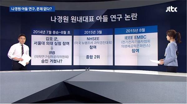 나경원 전 의원 아들 연구 '포스터' 논란 보도한 JTBC < 뉴스룸 >(2019.9.11)