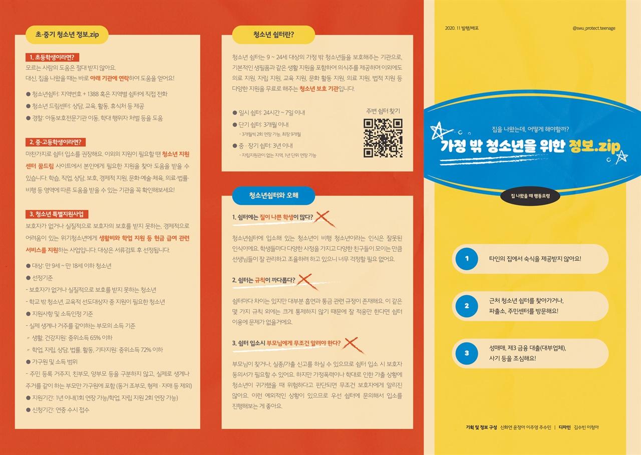 '가정 밖 청소년을 위한 정보.zip' 리플렛