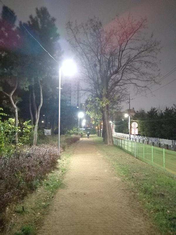 부영공원 진입로  부영공원 산책로 겸 조깅로는 시멘트나 우레탄을 깔지 않았습니다. 맨발로 운동해도 됩니다