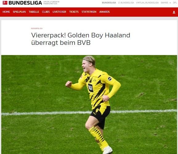 홀란드의 활약 소식을 전하는 독일 분데스리가 홈페이지