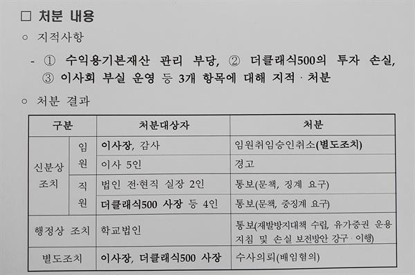 교육부의 '학교법인 건국대 현장조사 결과 보고' 문건..